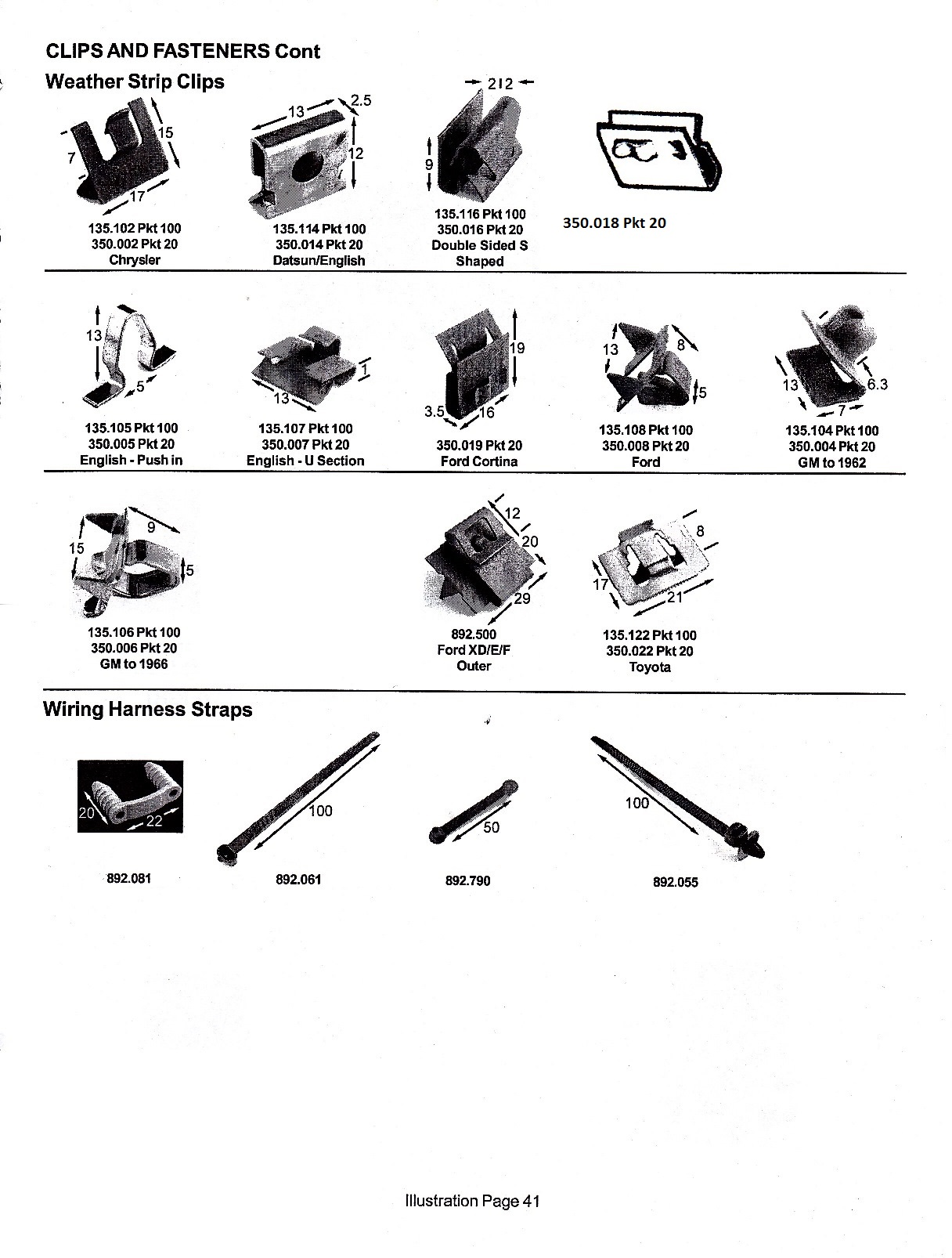 scott old auto rubber catalogue clips fasteners weather strip clips wiring harness straps page 41